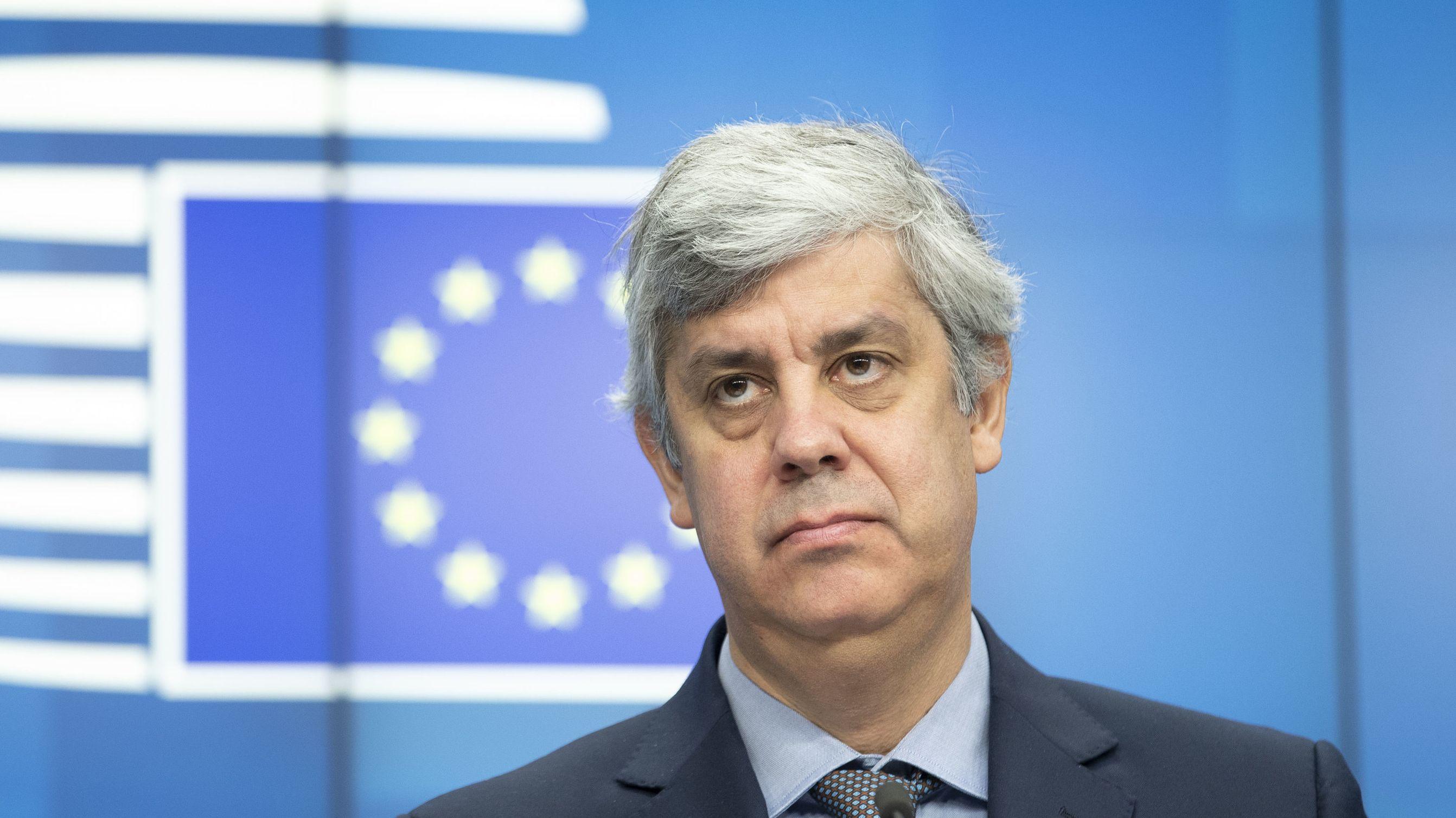 05.12.2019, Belgien, Brüssel: Der Präsident der Eurogruppe und portugiesische Finanzminister Mario Centeno hält im Anschluss an den Rat «Wirtschaft und Finanzen» eine Pressekonferenz ab.