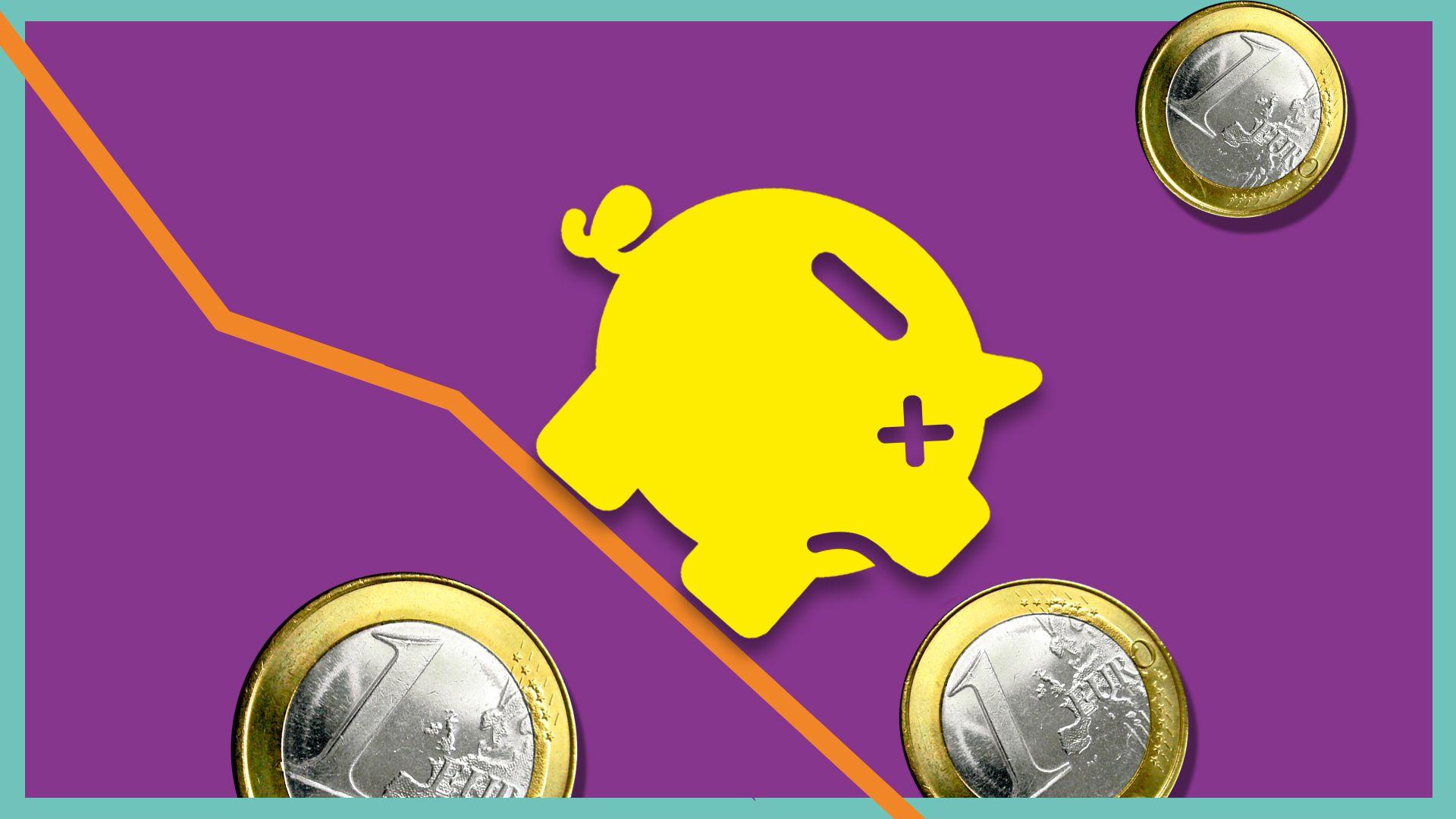 Eine piktografische Darstellung eines Sparschweins rutscht umgeben von Euromünzen auf einer Indexlinie nach unten.