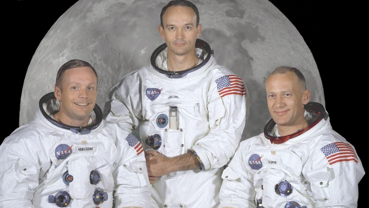 Crew der Mondlandungsmission Apollo 11: Armstrong und Aldrin betraten 1969 als erste Menschen den Mond. Beide wurden 1930 geboren - vor 90 Jahren.