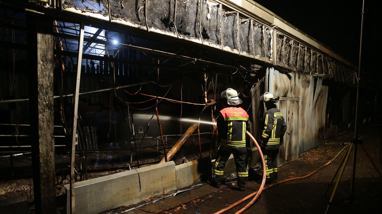 Feuerwehrleute stehen für Löscharbeiten vor dem Affenhaus des Krefelder Zoos.