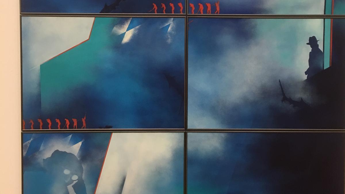 """Kunstwerk """"Left bottom, right centre in white-blue"""" der Münchner Malerin Sophie Arnold (Ausschnitt)."""