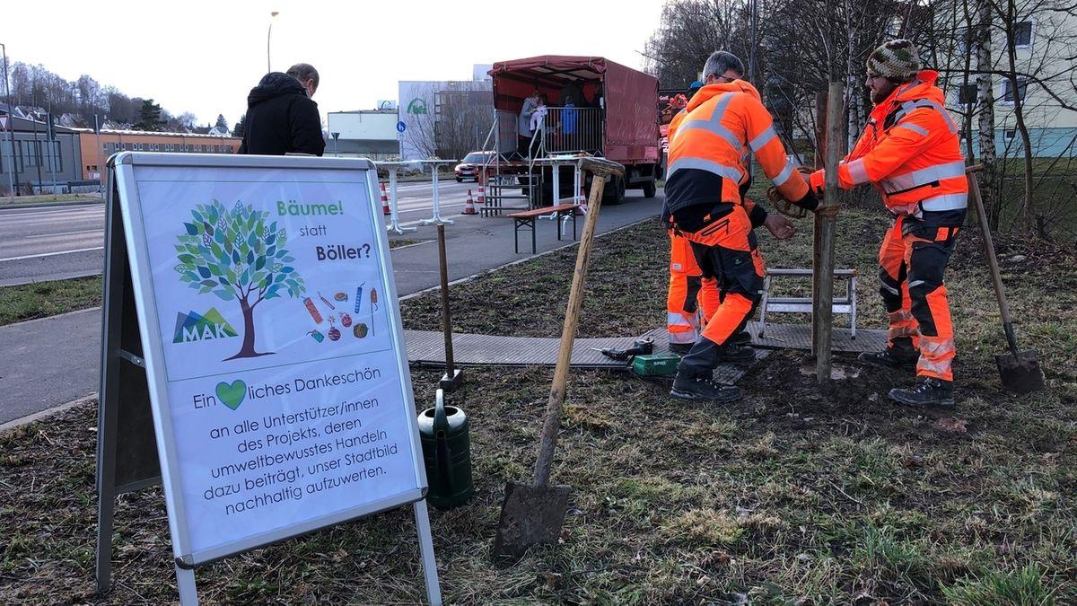 Mitarbeiter der Stadt stehen in orangener Arbeitskleidung auf einer Weise neben einer Straße und pflanzen einen Baum.