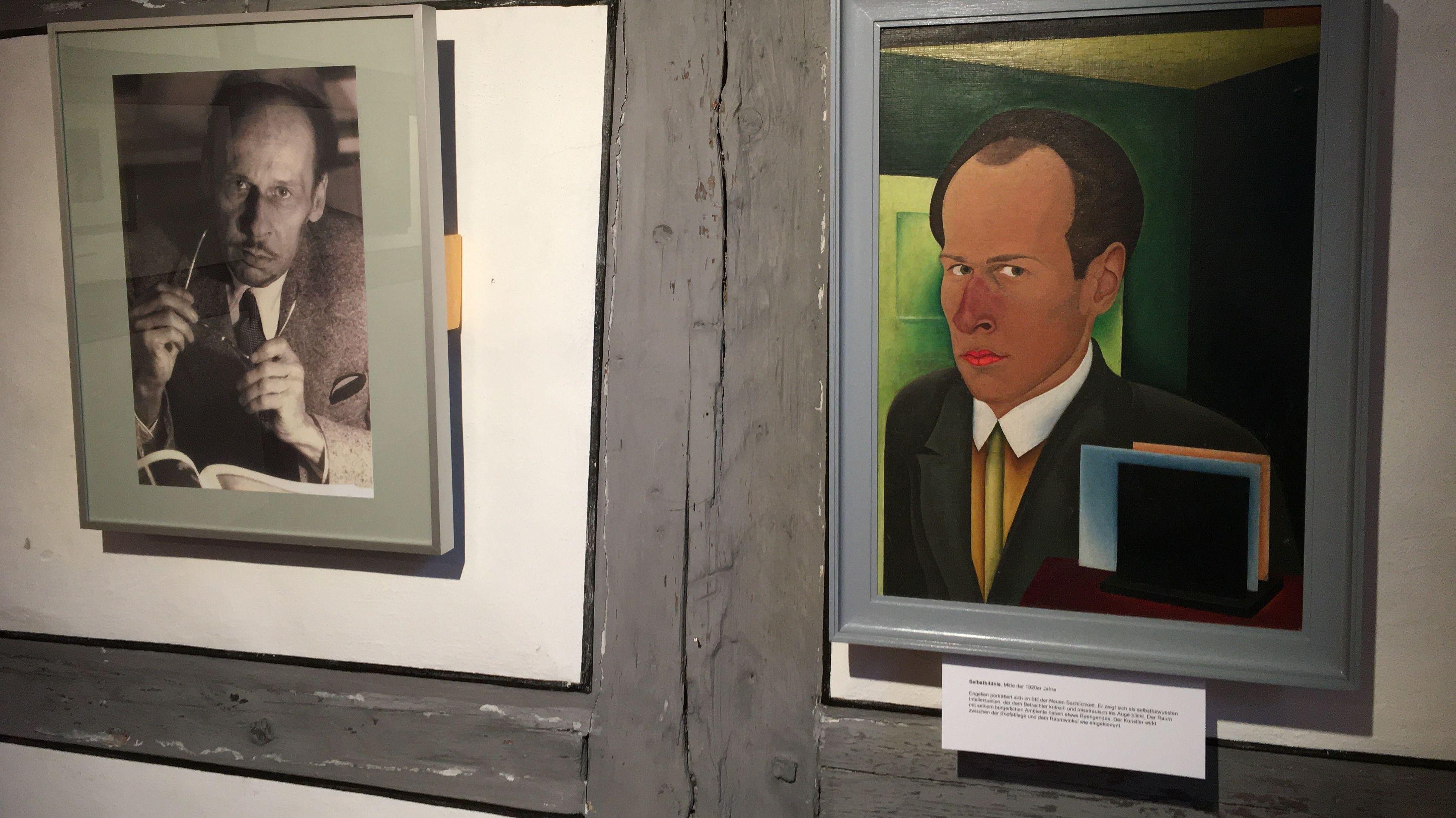 Eine Fotografie und ein Gemälde im Bauhausstil des Künstlers Egon Engelien