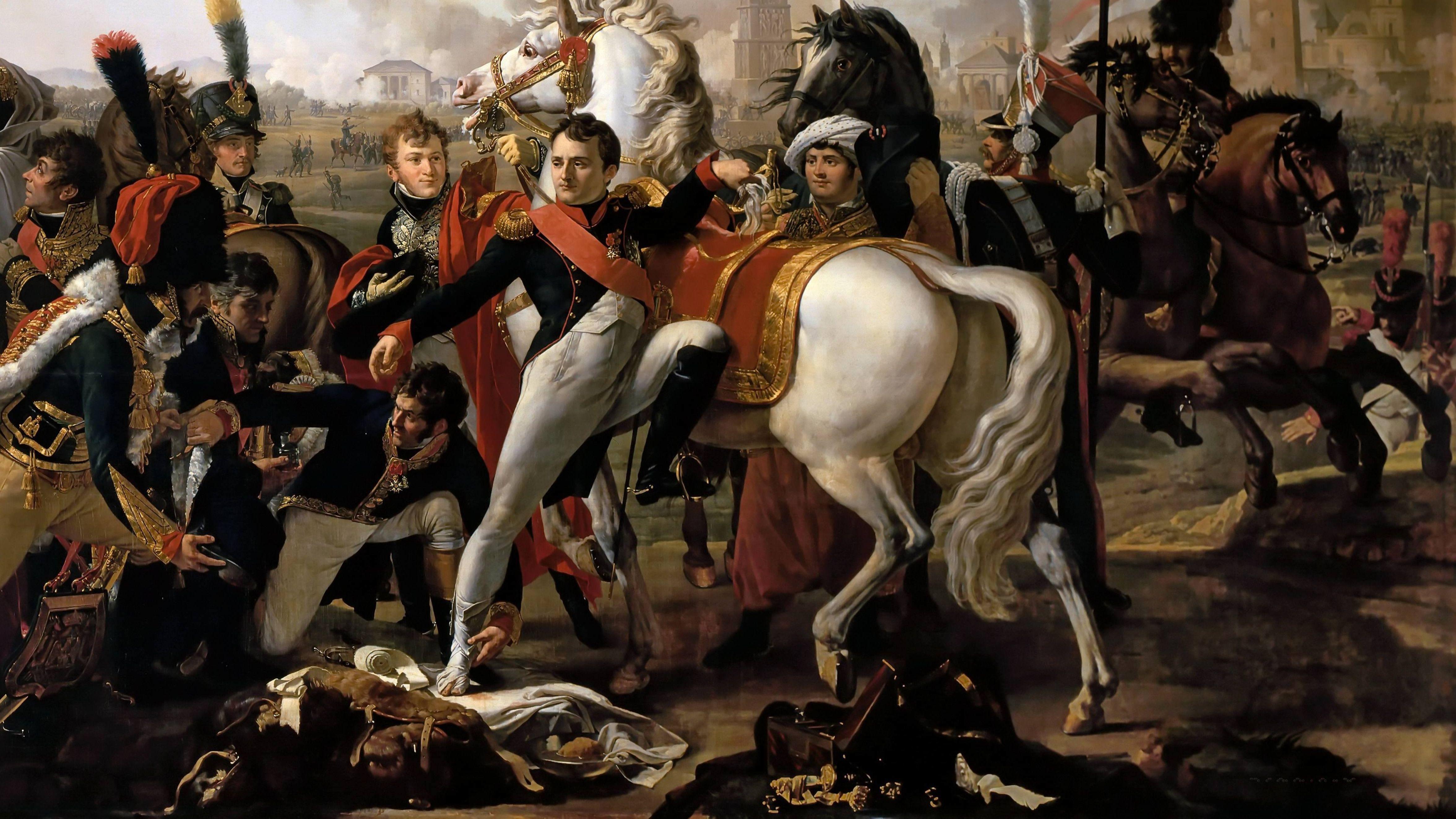 Napoleon wird während der Schlacht um Regensburg verwundet: das zeitgenössische Gemälde von Claude Gautherot hängt heute in Versailles.
