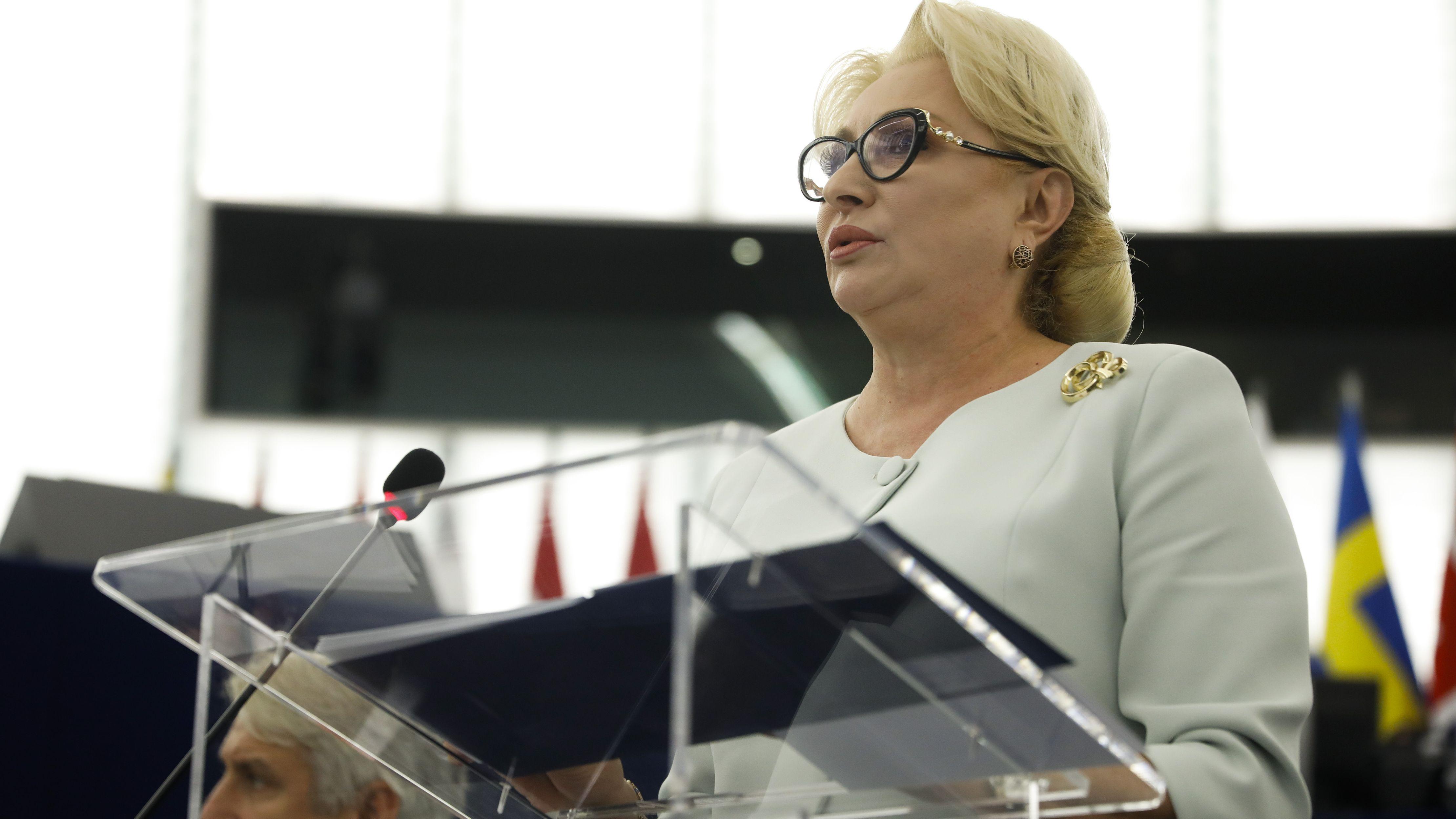 Die rumänische Ministerpräsidentin Viorica Dancila bei einer Rede im Europä-Parlament im vergangenen Juli.
