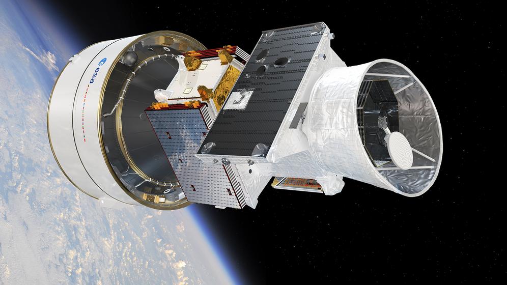 "Raumsonde BepiColombo mit den 2 Satelliten: ""Mercury Planetary Orbiter"" (MPO) (li) und ""Mercury Magnetospheric Orbiter"" (MMO) (re).   | Bild:ESA/ATG medialab"