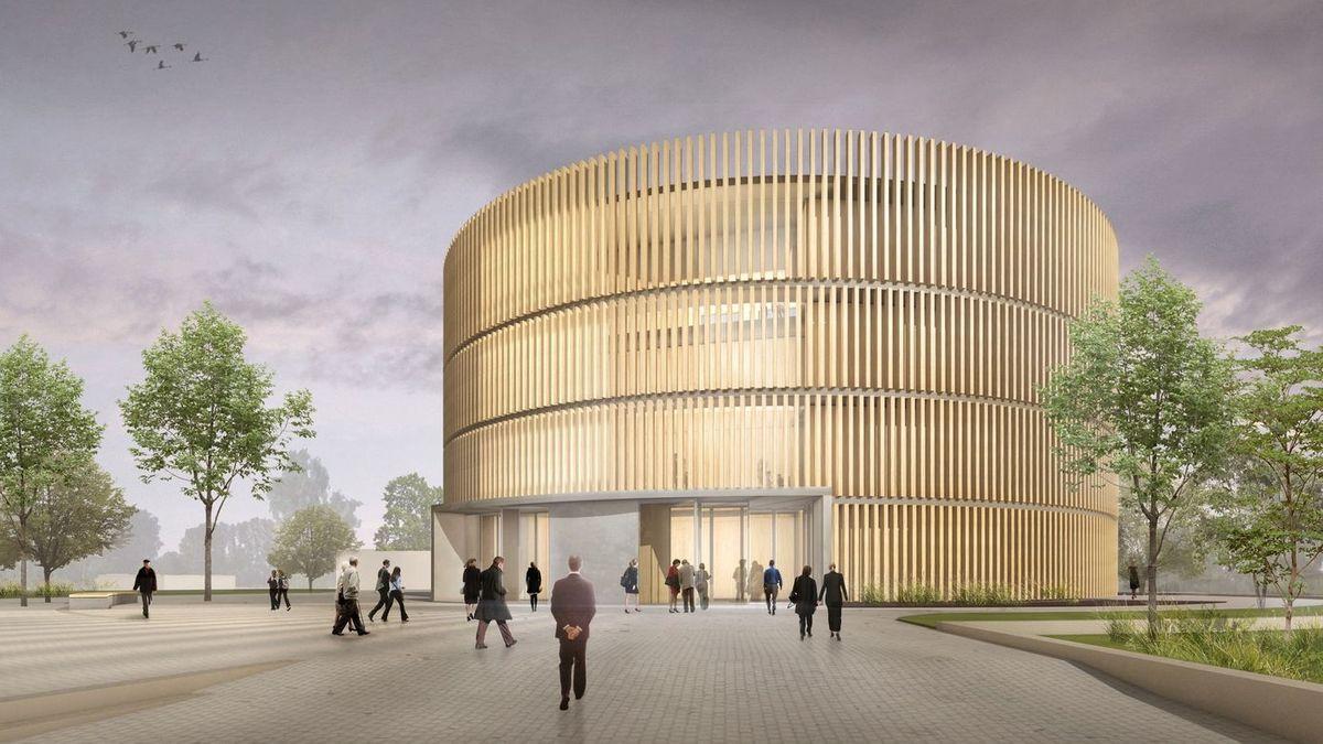 Eine Animation zeigt, wie das Coburger Globe-Theater aussehen soll, wenn es fertig ist.