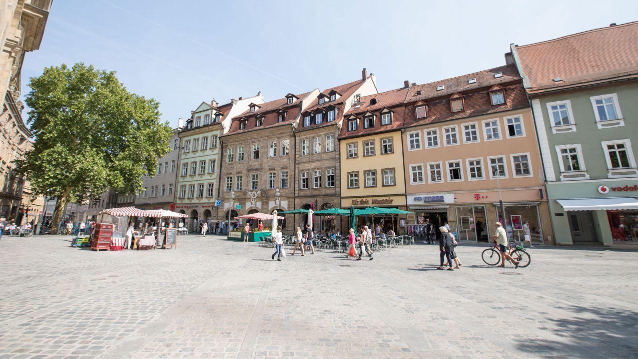 Grüner Markt in Bamberg.