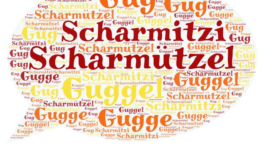 Sprechblase mit Dialektbegriffen