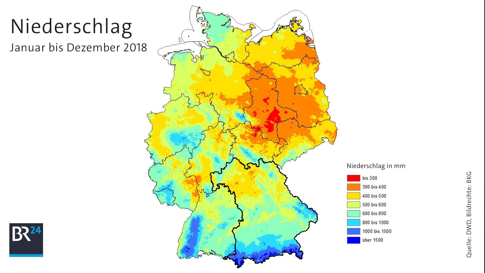 Die durchschnittlichen Niederschlagsmengen (Dezember geschätzt)