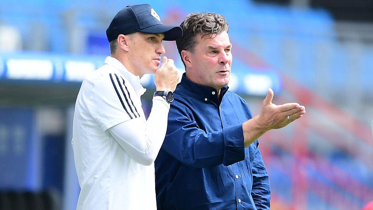 Tobias Schweinsteiger mit Trainer Dieter Hecking beim Hamburger SV