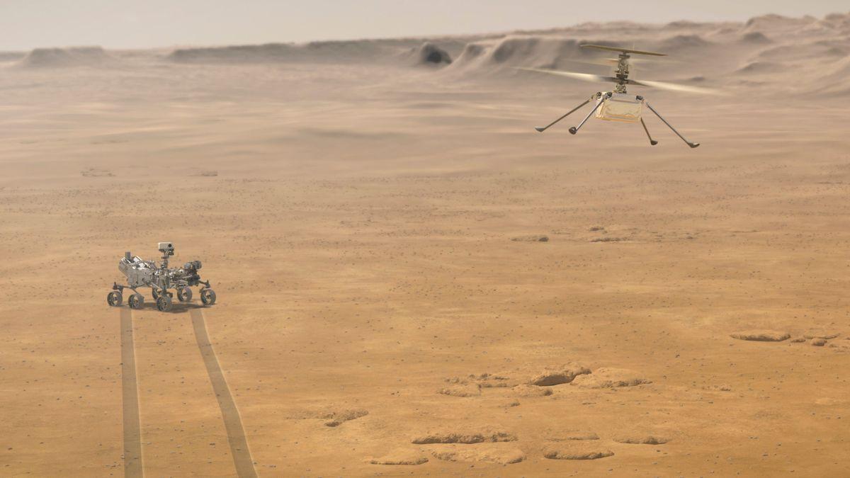 Illustration des fliegenden NASA Ingenuity Mars-Helikopters, während der Mars-Rover Perseverance sich am Boden entfernt.