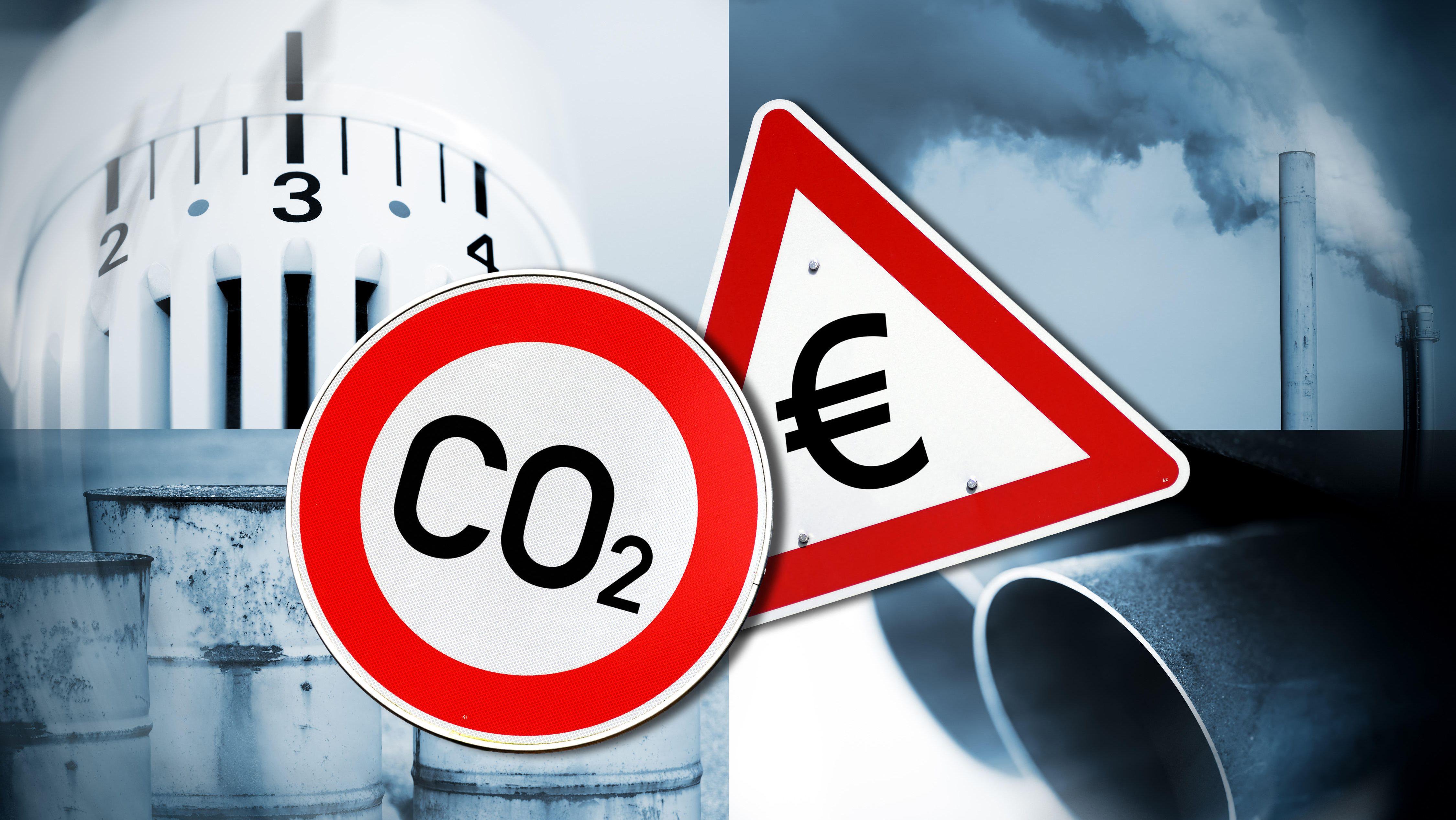 Fotomontag: CO2-Schild, Warnschild mit Eurozeichen, Heizungsthermostat, Auspuff, Heizölfässer, Schornsteine