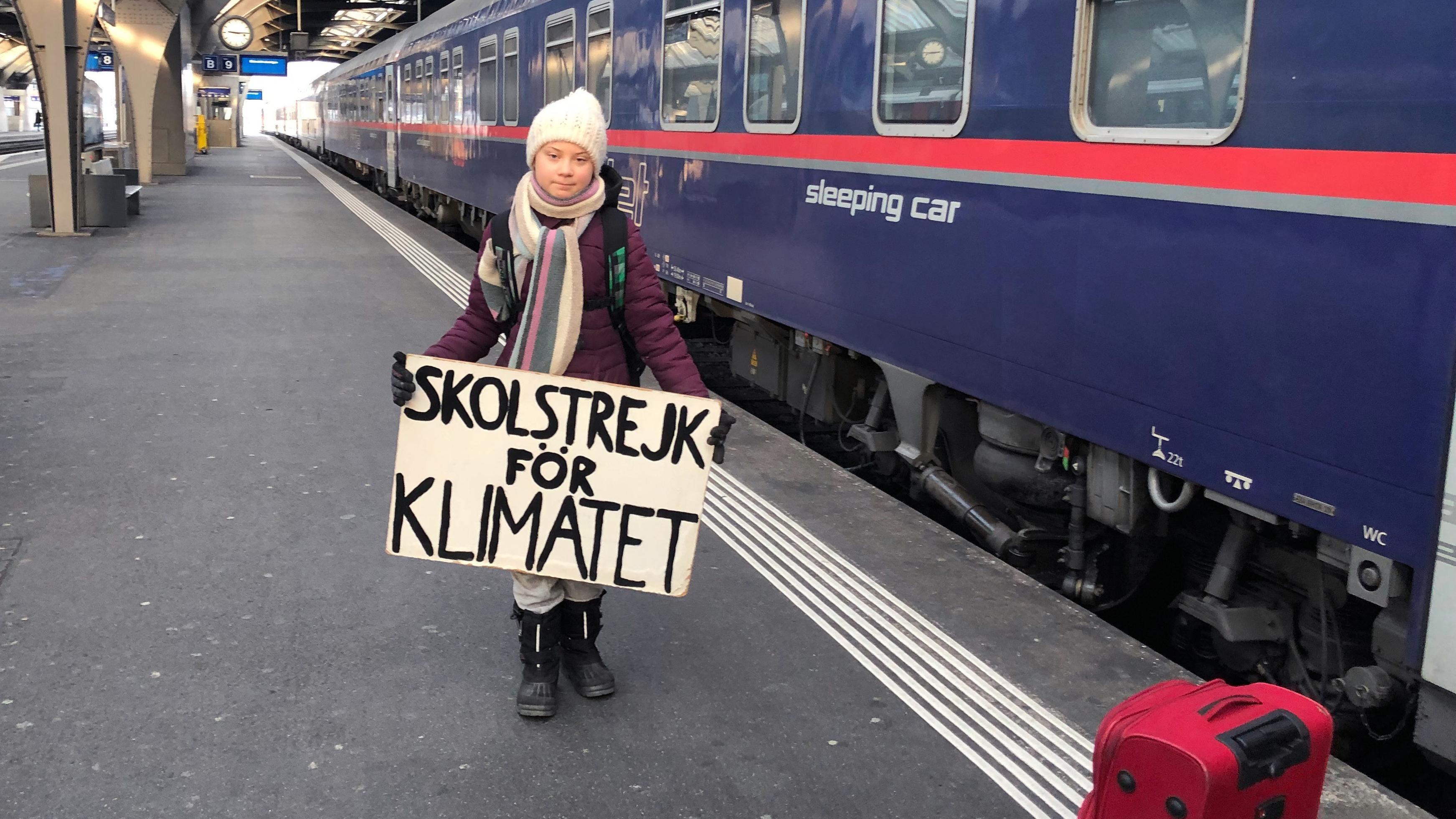 Greta Thunberg bei der Ankunft in Zürich