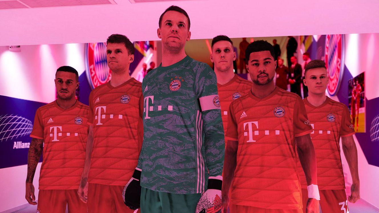 """Thiago, Thomas Müller, Manuel Neuer, Niklas Süle, Serge Gnabry und Joshua Kimmich (von links) im neuen Teil von """"Pro Evolution Soccer"""""""