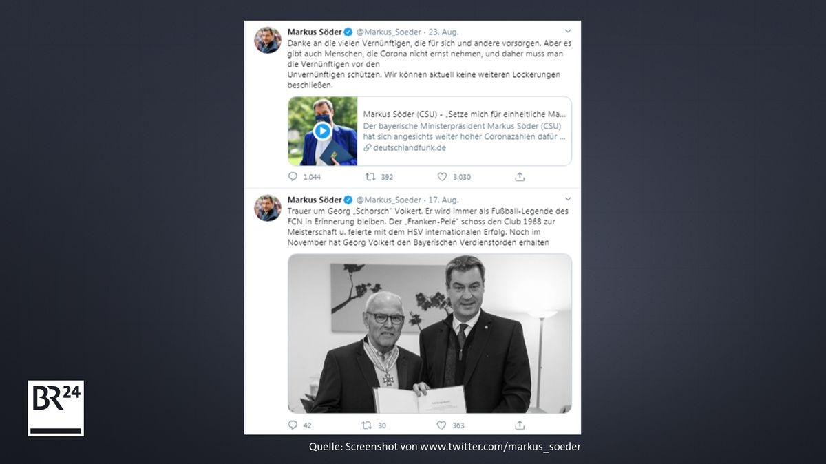 Diese Tweets wurden von Markus Söders im fraglichen Zeitraum abgesetzt und sind noch sichtbar.