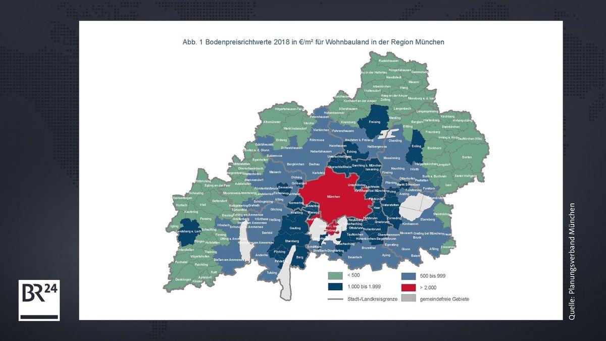 Bodenpreis-Richtwerte für die Region München.