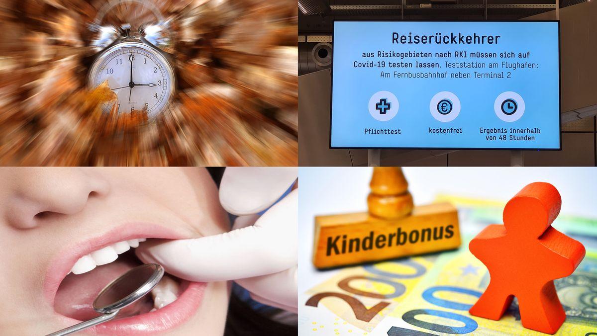 Collage: Zeitumtellung, Reiserückkehrer, Zahnerstaz, Kinderbonus