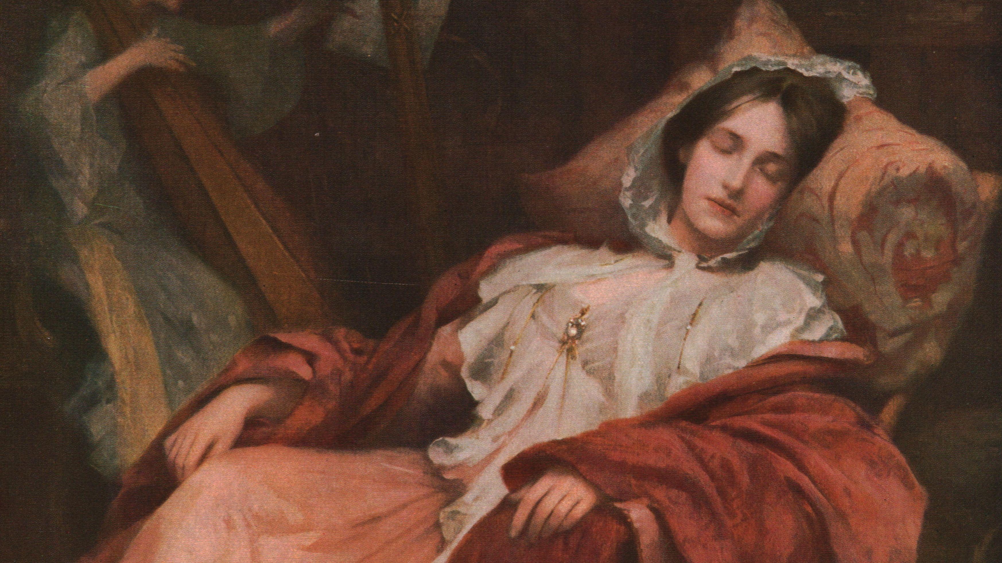 Ölgemälde einer schlafenden Frau im Sessel