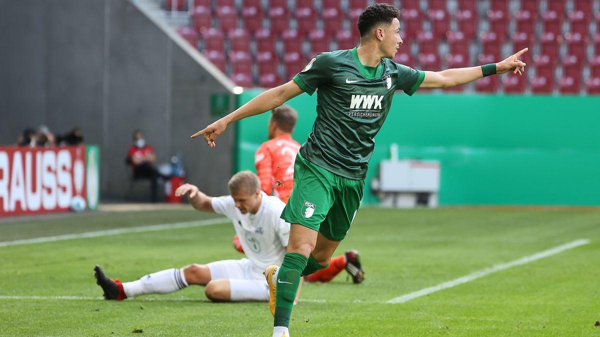 Tor zum 1:0 durch Ruben Vargas (FC Augsburg)