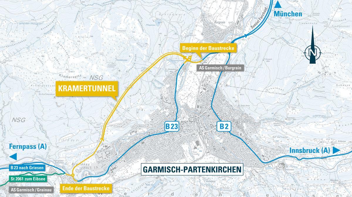 Der Verlauf des Kramertunnels.