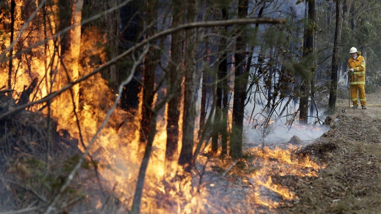Ein Feuerwehrmann in Australien bewältigt einen kontrollierten Brand