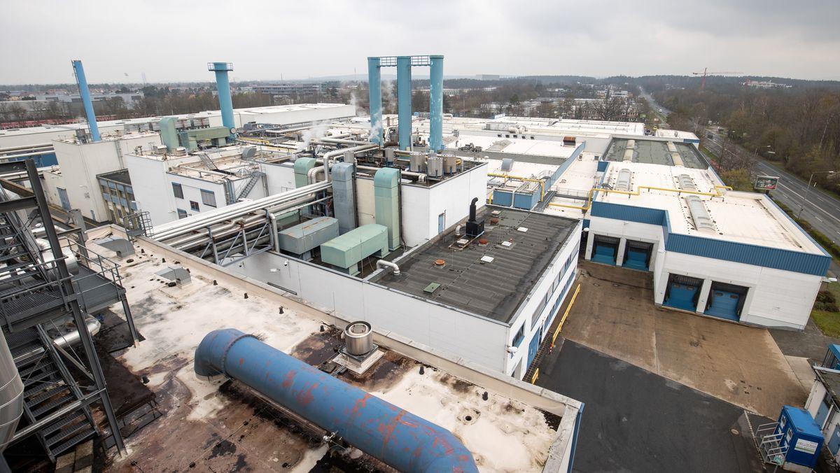 Blick auf das Werksgelände der Druckerei Prinovis in Nürnberg-Langwasser.