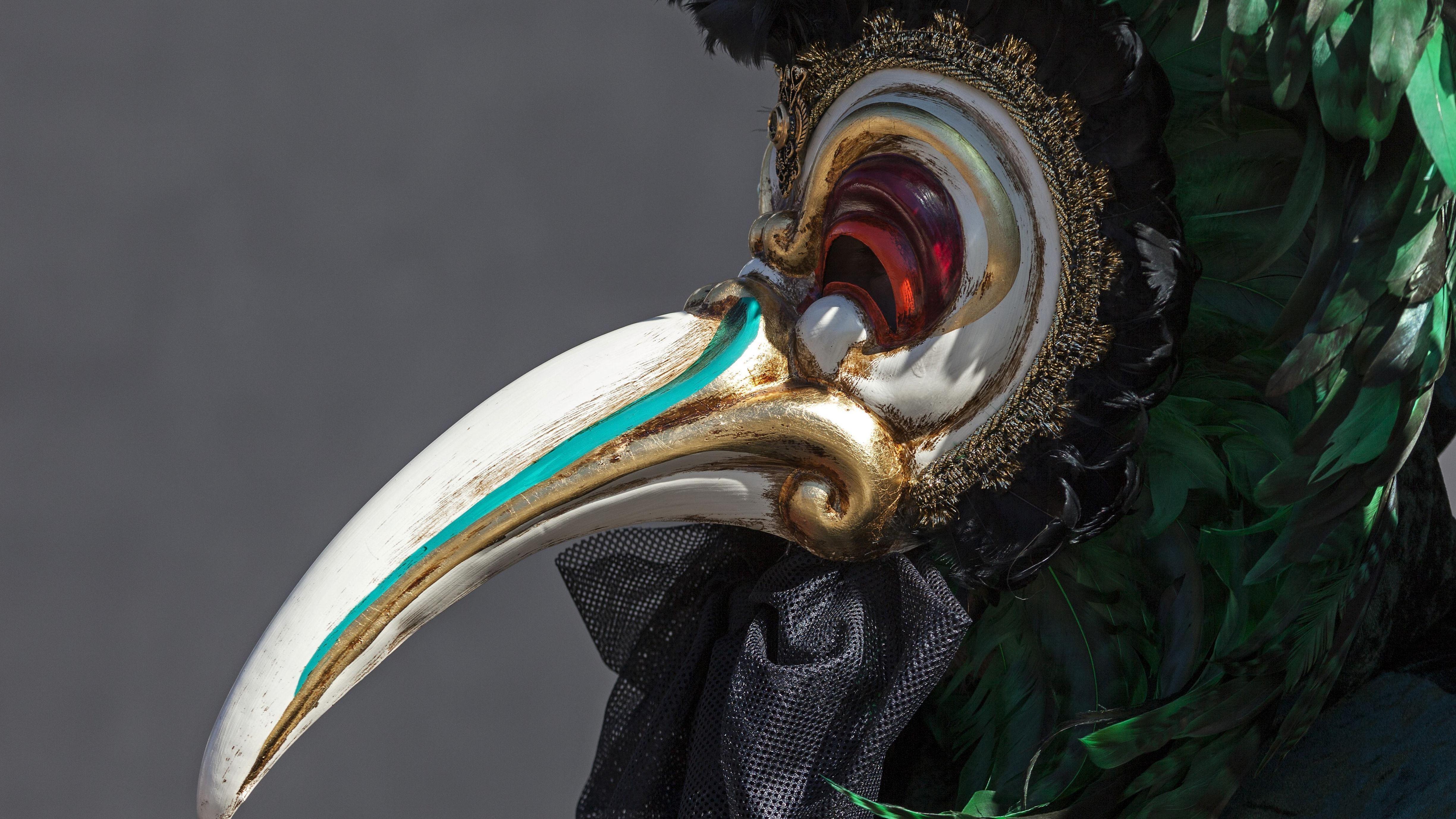 """Venezianische """"Pest-Masken"""" wie diese sollten bereits im Jahr 1347 als Schutz vor der damaligen Epidemie dienen."""