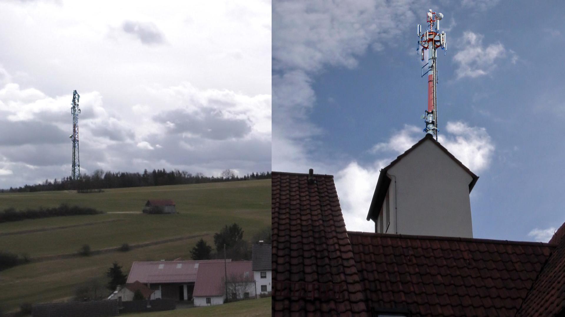 Eine Fotomontage zeigt die beiden Varianten für den Funkmast.