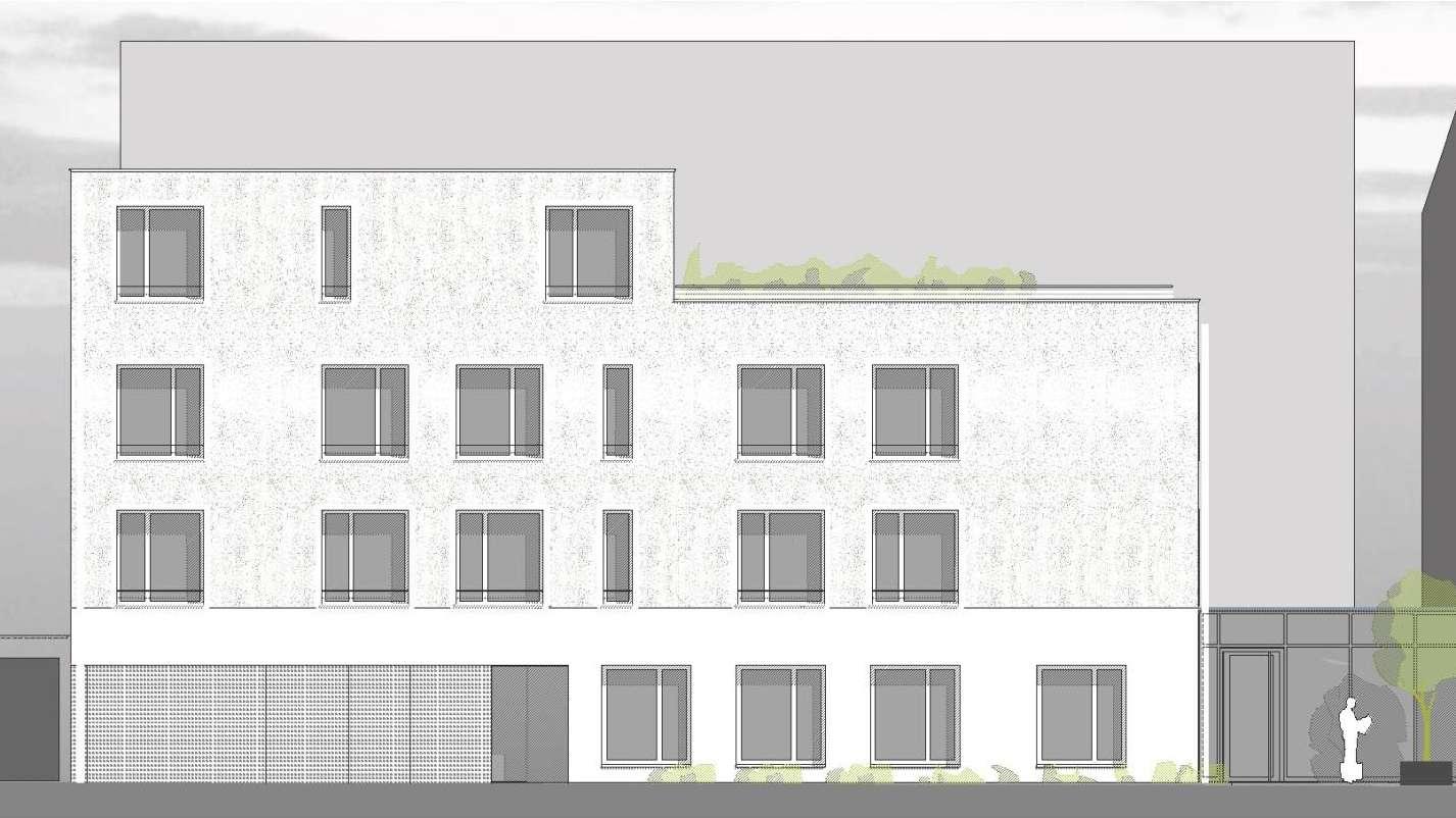Ansicht des geplanten Neubaus von der Pestalozzistraße aus