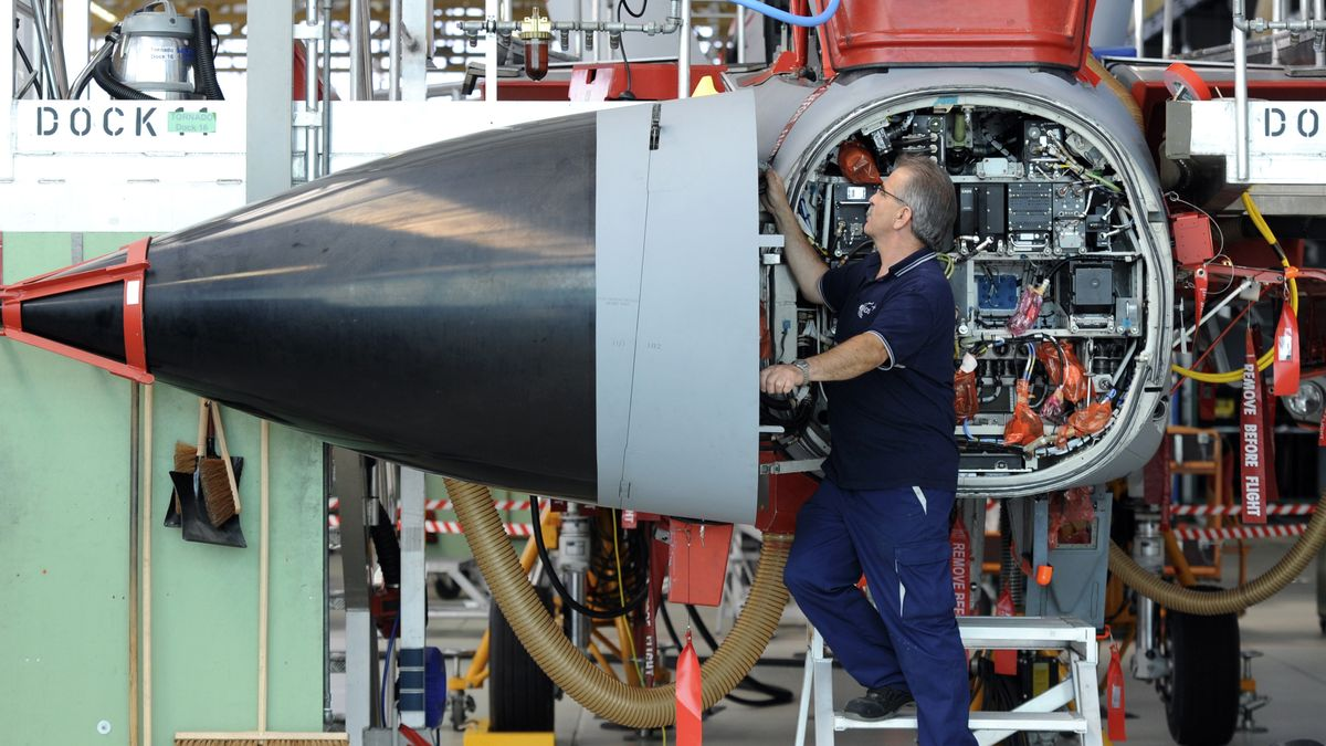 Manching: Wartung eines Flugzeugs vom Typ Tornado