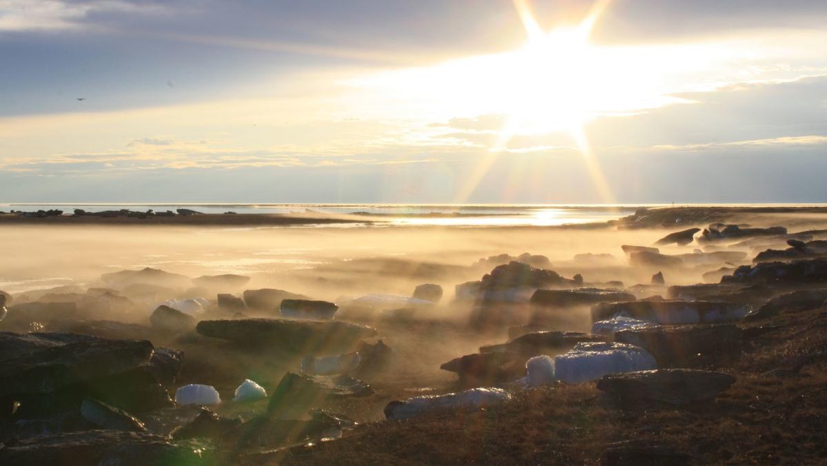 Besonders stark erwärmen sich die Permafrostböden in Sibirien. Im Bild: Die Frühjahrsflut der Lena an der sibirischen Permafrostinsel Samoylov. Der Fluss transportiert in jedem Frühjahr dicke Eisschollen Richtung Arktischer Ozean.