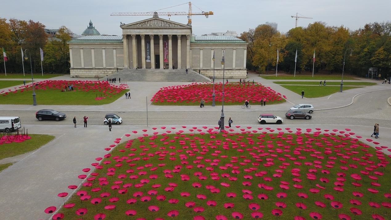 Kunst-Mohnblumen sprießen auf Königsplatz
