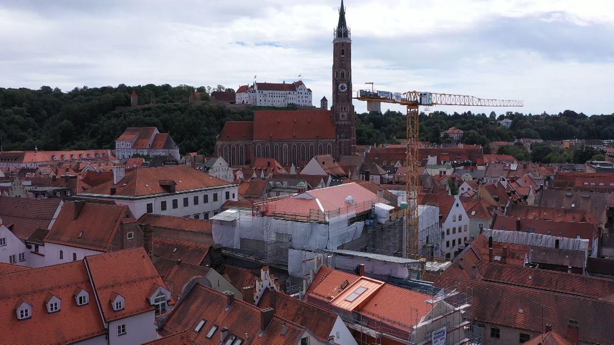 Die Großbaustelle an der Landshuter Stadtresidenz - mitten in der Altstadt.