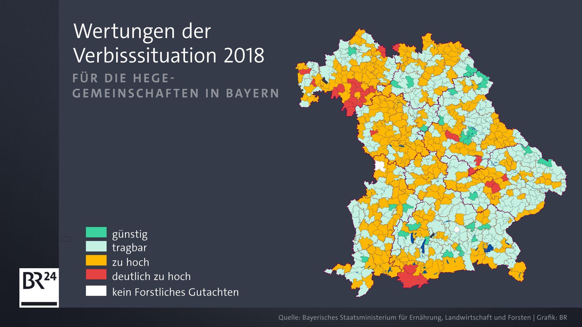 Die Wertungen der Verbisssituation 2018 für die Hegegemeinschaften in Bayern.