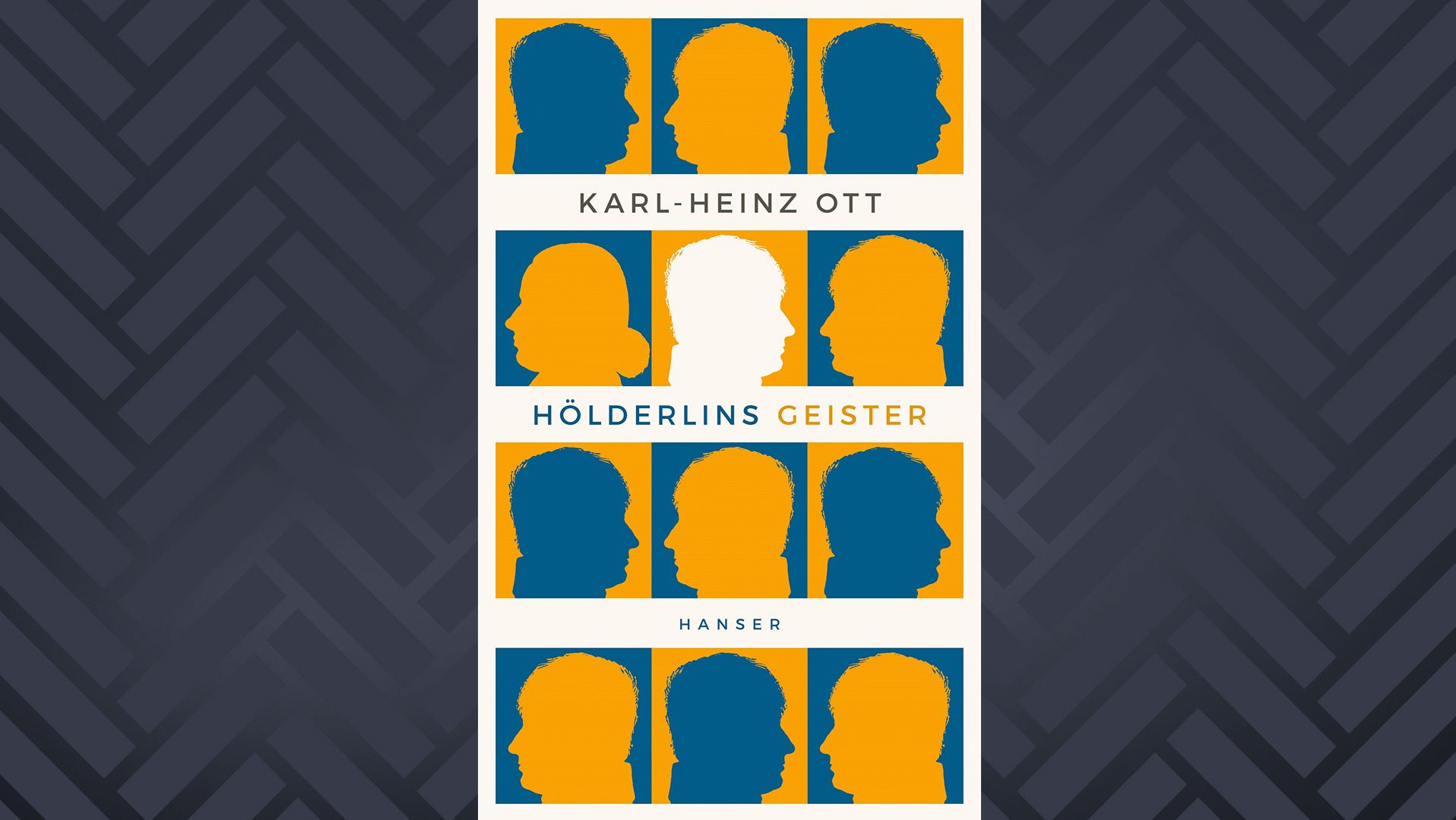 """Buchcover """"Hölderlins Geister"""" von Karl-Heinz Ott: Blaue und gelbe Schattenrisse von Hölderlins Kopf auf gelbem und blauem Grund"""