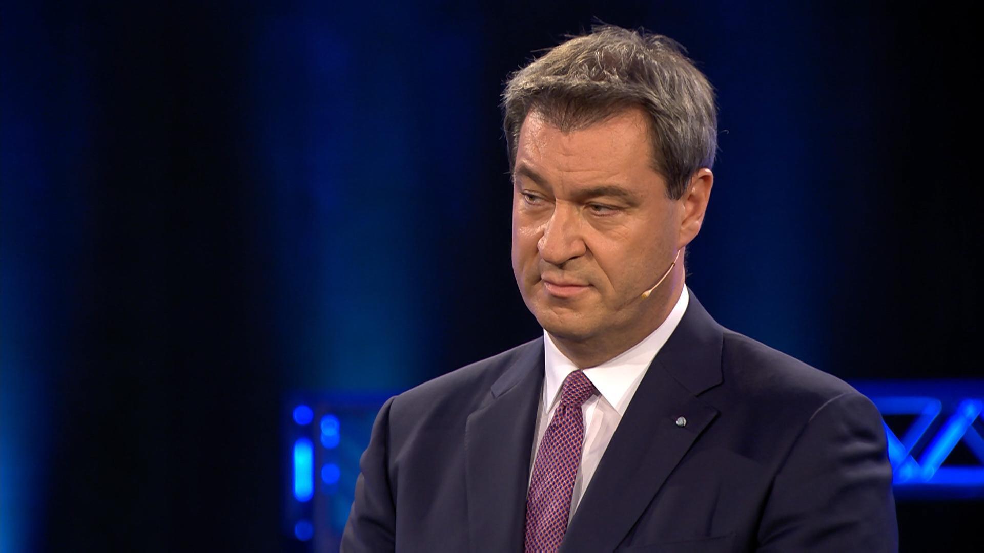 Ministerpräsident Markus Söder in der BR Wahlarena