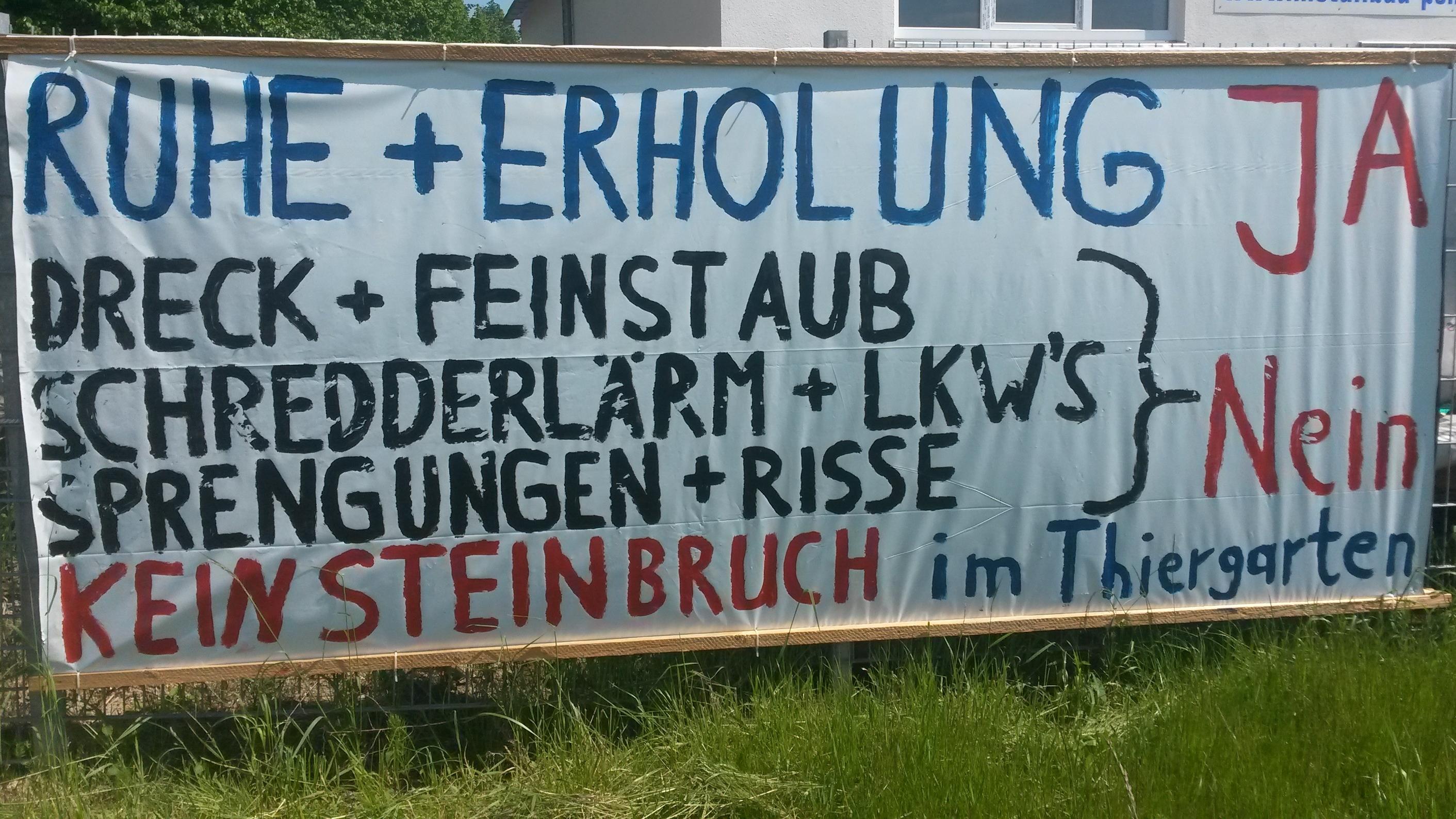 Protestplakat gegen Steinbruch bei Wiesent