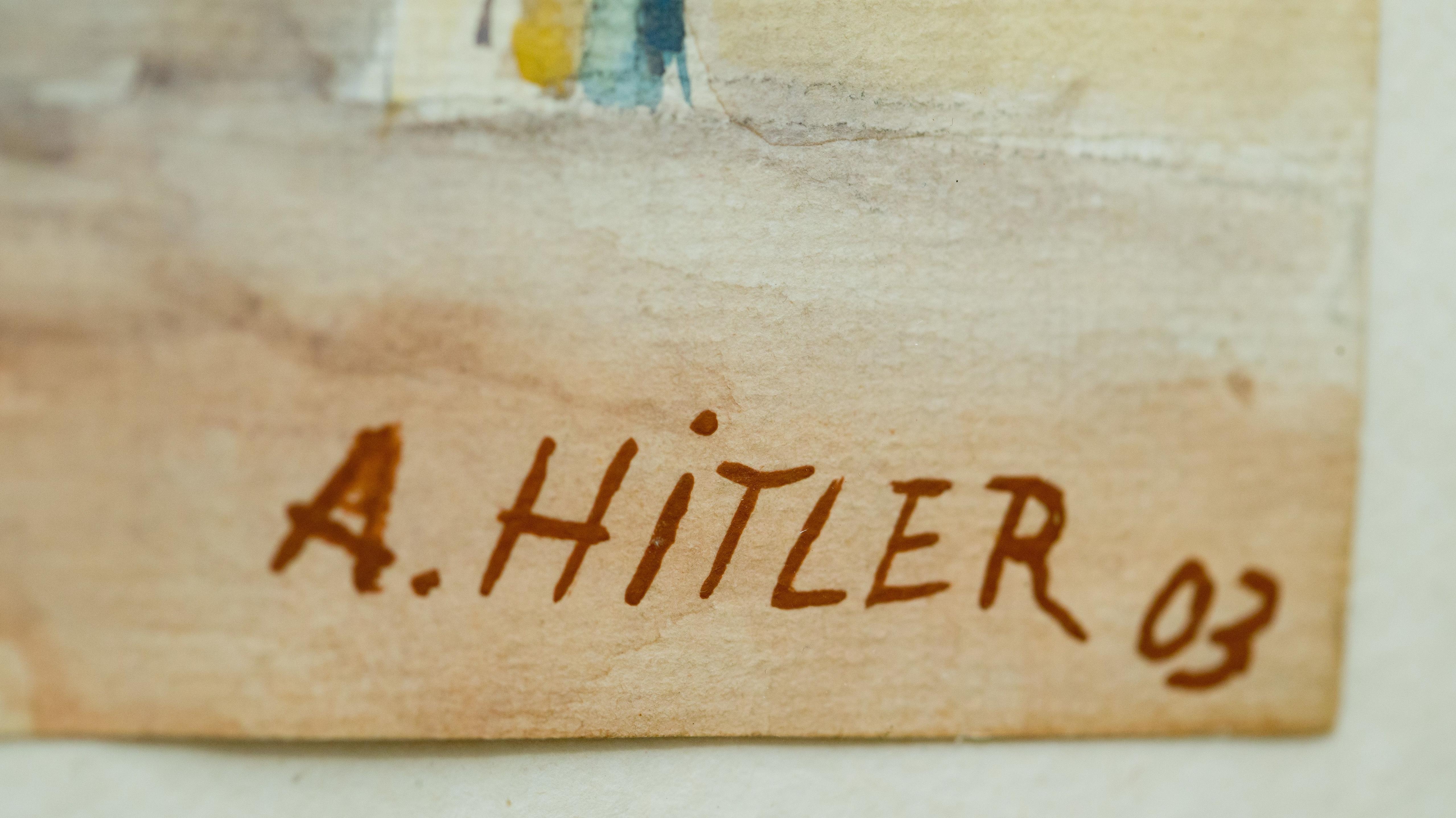 """Auf dem Aquarell """"Stadtansicht Gumpoldskirchen"""" (von 1903), das Adolf Hitler zugeschrieben wird, ist dessen Unterschrift zu sehen."""