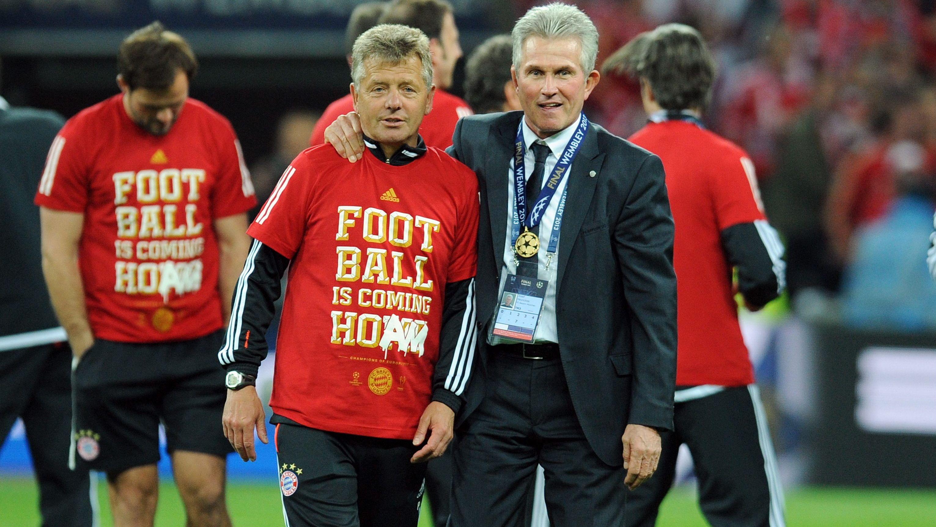 Peter Hermann und Jupp Heynckes nach dem Gewinn der Champions League 2013