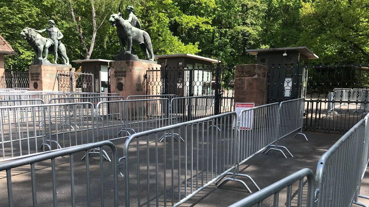 Gitter vor dem Eingang zum Nürnberger Tiergarten (Archiv, Mai 2020)