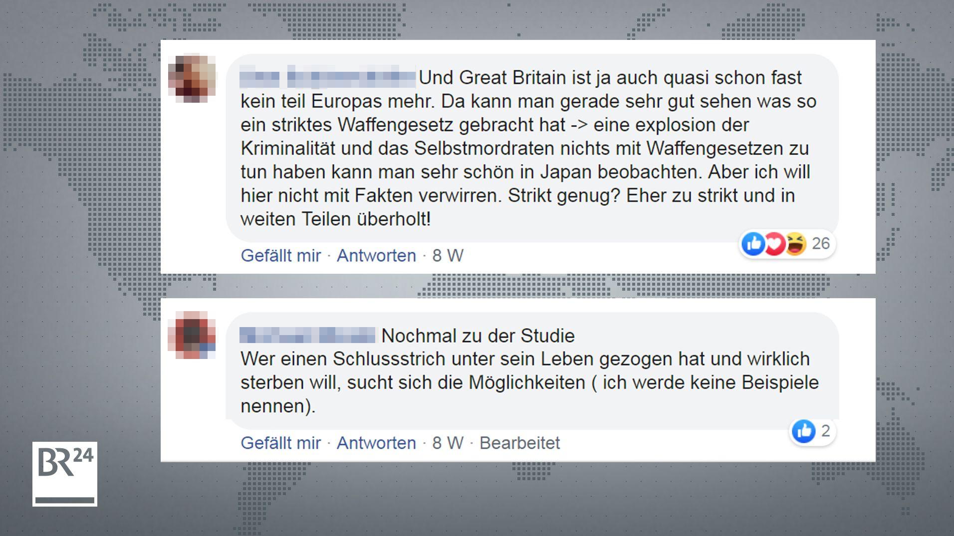 Nutzer von BR24 bezweifeln in Facebookkommentaren den Zusammenhang von Verbreitung an Waffen und Mordraten/ Suizidraten