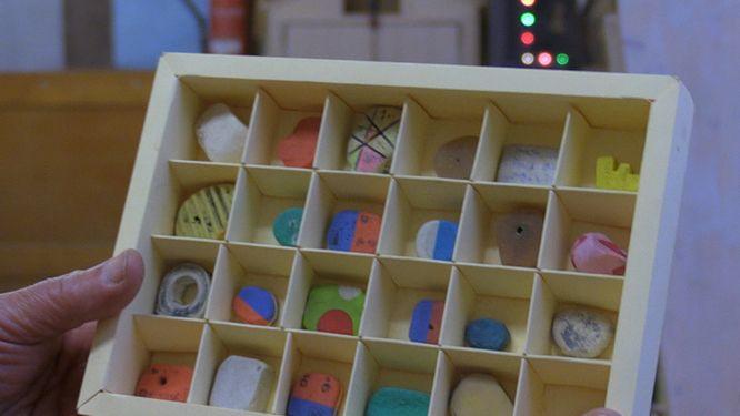 Ein Schaukasten mit einer Auswahl an gesammelten Radiergummis.
