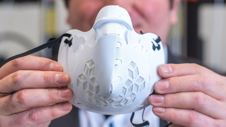 Eine Schutzmaske aus einem 3-D-Drucker