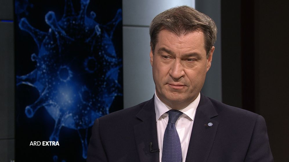 Bayerns Ministerpräsident Markus Söder im ARD extra   Bild:BR