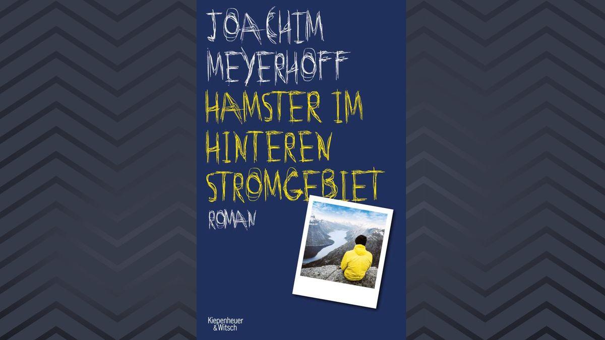 Ein blaubrundiges Buchcover mit gelber Schrift und einem Foto, auf dem ein Mann in ein Tal schaut: Joachim Meyerhoff, Hamster im hinteren Stromgebiet