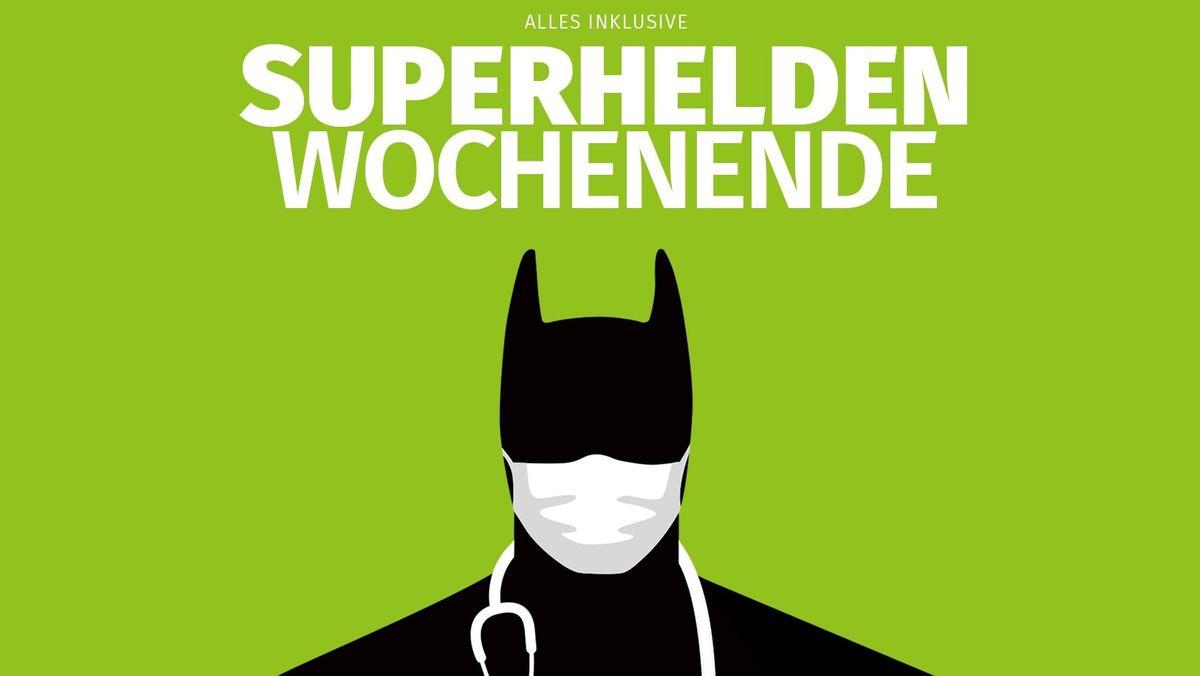 Der schwarze Umriss eines Superheldens trägt einen weißen Mundschutz und ein Stethoskop um den Hals. Darüber steht: Alles inklusive. Superhelden Wochenende.