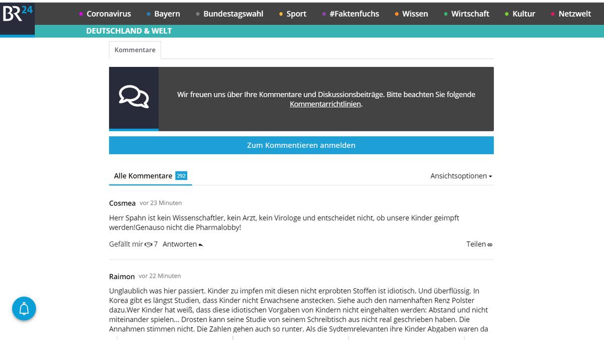 BR24-User kommentieren Artikel zur Frage, ob Kinder gegen Corona geimpft werden sollen.