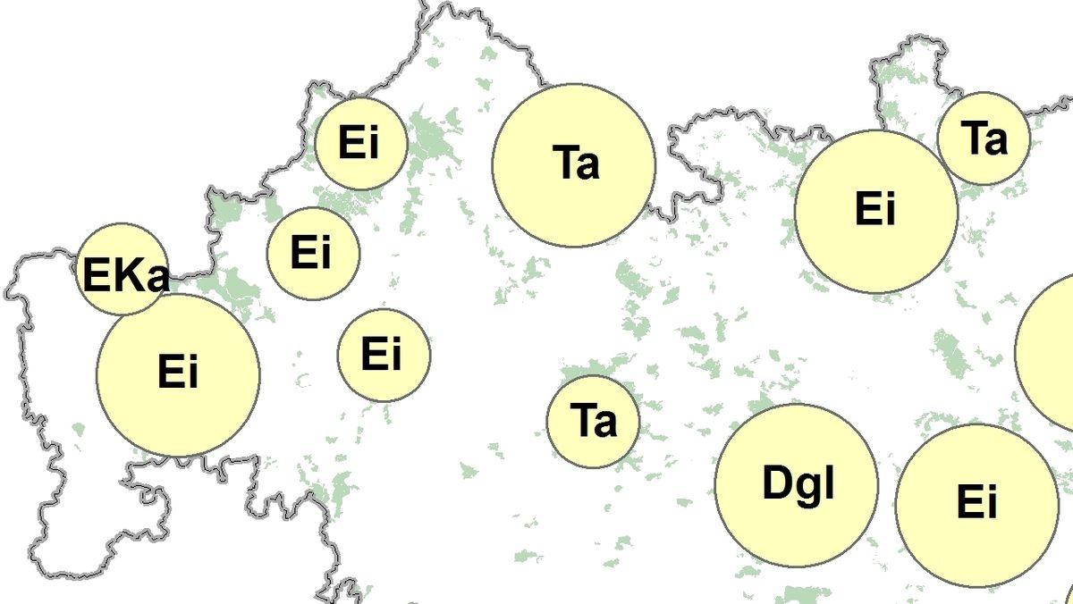 Grafik mit den Pflanzbereichen der Klimabäume