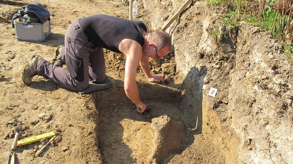 Freilegung der Funde in einem Ortsteil von Riekofen